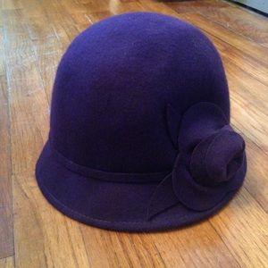 Purple Wool Cloche Hat with Flower